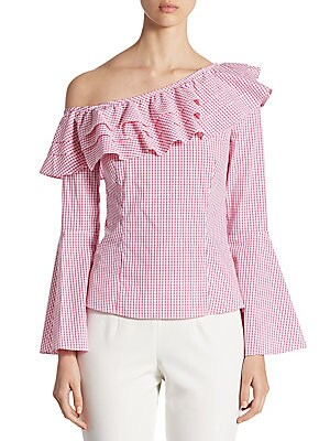Ruffled Gingham One-Shoulder Bell-Sleeve Top