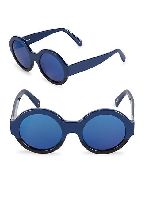 50MM Bruno Mirrored Round Sunglasses
