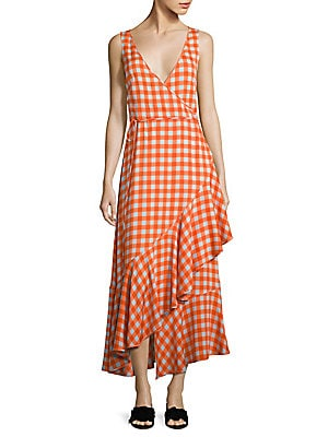 Gingham Asymmetrical Ruffled Midi Dress