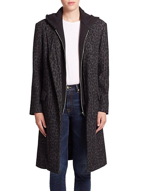 Oversized Hooded Leopard-Pattern Coat