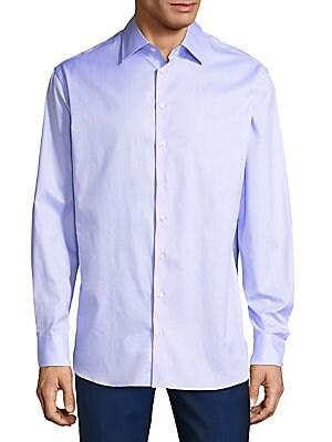 Point Collar Cotton Button-Down Shirt