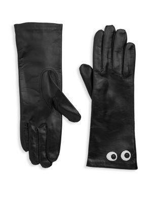 MAISON FABRE Eye Leather Gloves in Noir