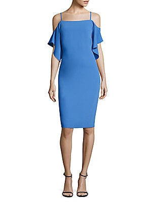 Cold-Shoulder Flutter-Sleeve Sheath Dress