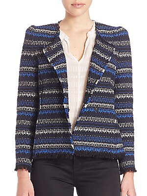 Tweed Fringe-Hem Jacket