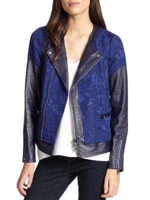 Rebecca Taylor Leathers Floral Jacquard & Leather Moto Jacket