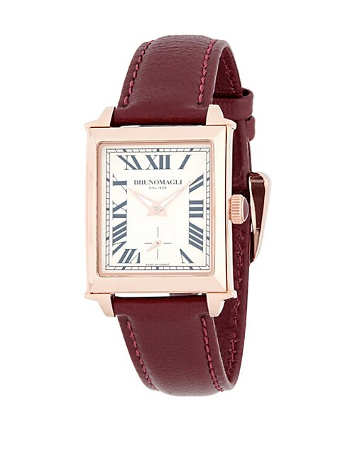 Bruno Magli ROSE GOLDTONE STAINLESS STEEL AND LEATHER STRAP WATCH