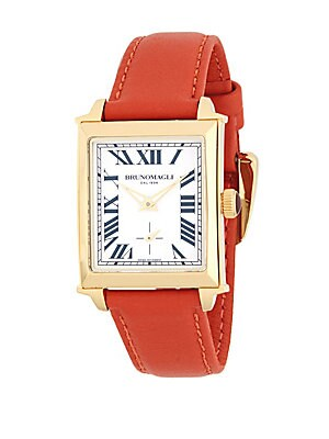 Goldtone Stainless Steel and Leather Strap Watch