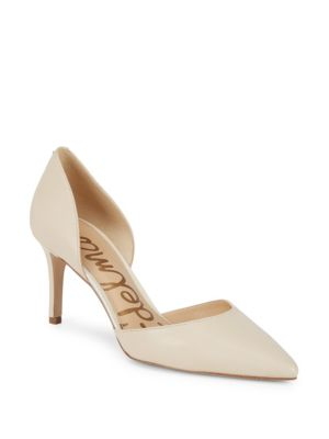 Telsa Leather Stiletto Heel D'Orsay in Ivory