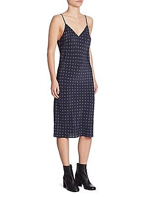 Dotted Silk Slip Dress