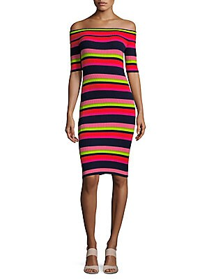 Multicolored Striped Bodycon Dress