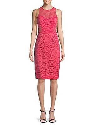 Floral Lace Knee-Length Dress