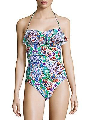 Ruffled Halterneck One-Piece Swimsuit