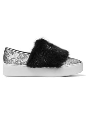 Collection Women'S Lorelai Brocade And Mink Fur Slip-On Sneakers in Silver