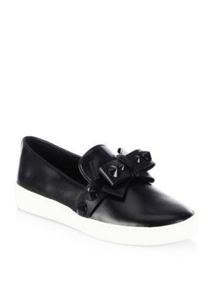 Val Grosgrain-Trimmed Patent-Leather Slip-On Sneakers in Black