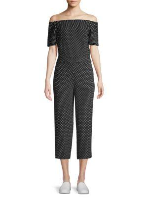 Polka Dot Flutter Sleeve Jumpsuit, Black