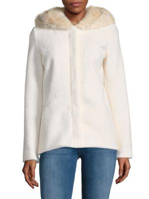 Laundry By Shelli Segal Furs Faux Fur Hooded Coat