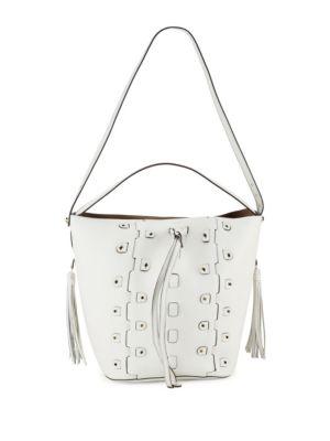 Vittoria Glam Leather Drawstring Bucket Bag, Petalo