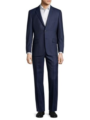 Classic B Fit Stripe Wool Suit in Navy