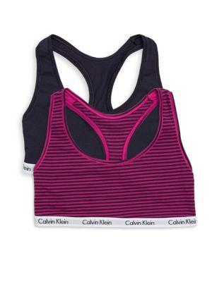 01bc6f6346ede Calvin Klein Two-Pack Logo Sports Bra In Purple