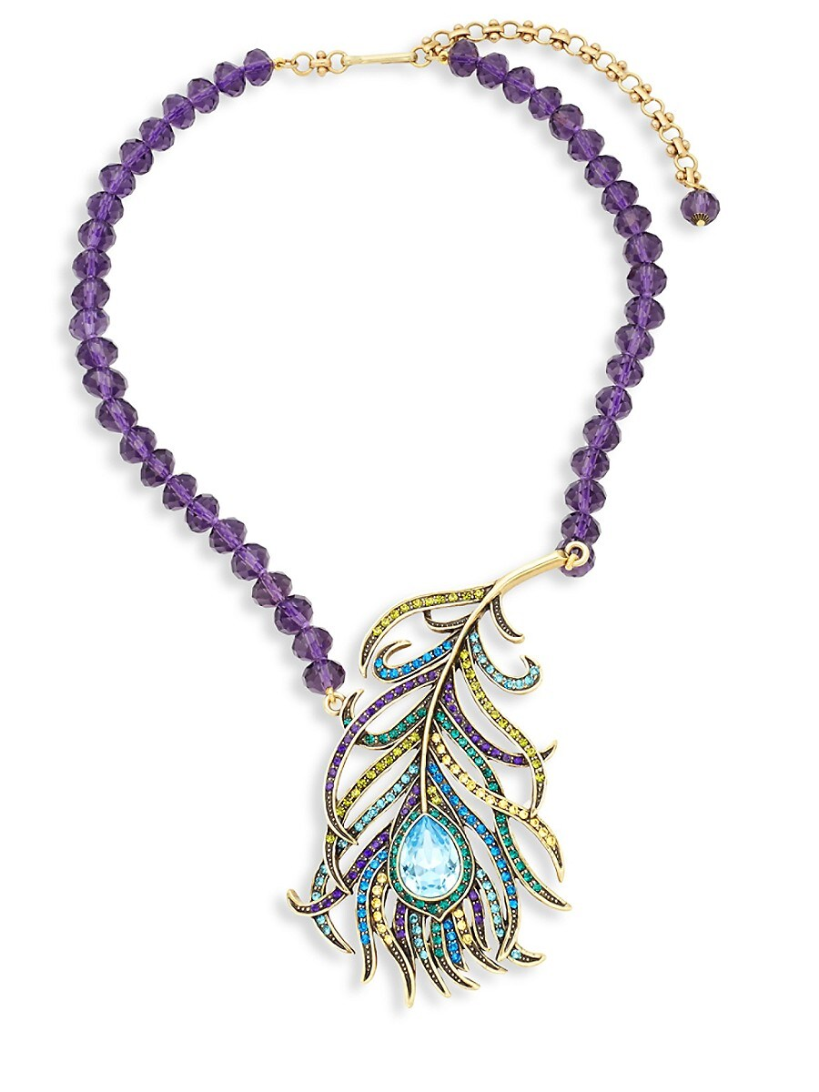 Women's Beaded Crystal Feather Pendant Necklace
