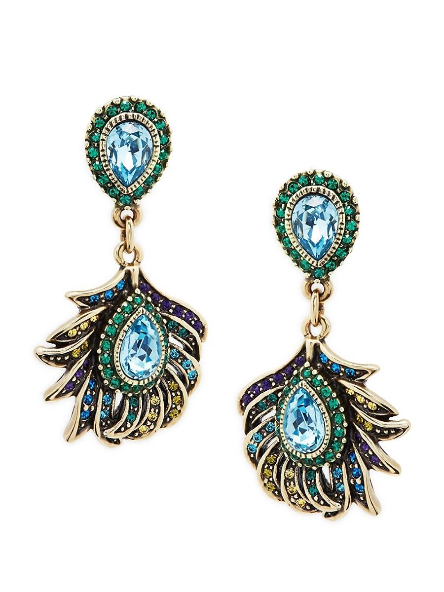 Women's Crystal Feather Drop Earrings
