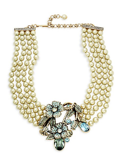 Bouquet Of Flowers Faux-Pearl Crystal Pendant Necklace