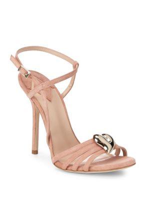 Aperlai Brooch Accent Suede Sandals