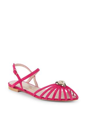 Aperlai Heart Leather Ankle-Strap Sandals