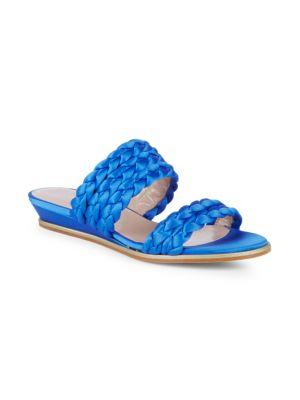 APERLAI Braided Wedge Slides in Blue