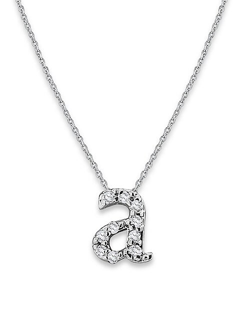 DIAMOND INITIALS 14K WHITE GOLD PENDANT NECKLACE