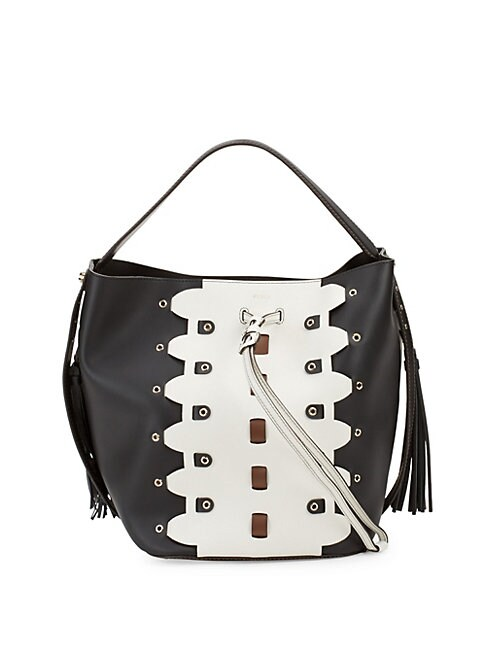 Vittoria Glam Leather Bucket Bag And Pouch Set, Onyx Petal