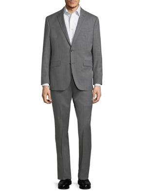 Kenneth Cole Slim-fit Solid Wool-blend Stretch Suit In Gray