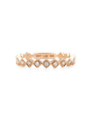 Ef Collection Diamond and 14K Rose Gold Stack Ring