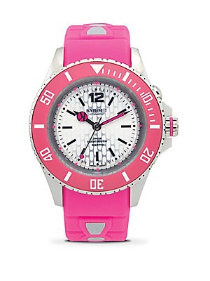 Neon Pink Silicone & Stainless Steel Strap Watch/40MM