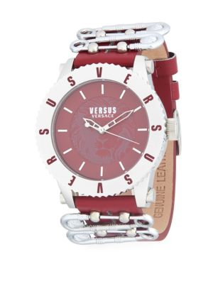 Versus  Water Resistant Stainless Steel Leather-Strap Watch