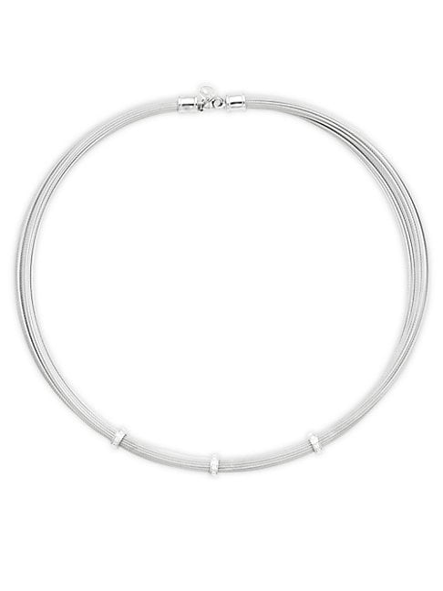 ALOR   18K Gold & Diamond Stainless Steel Cable Necklace   Goxip