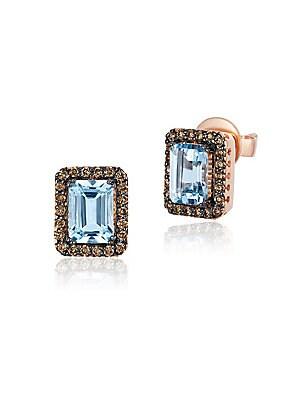 Le Vian Chocolatier® Aquamarine, Diamond & 14K Rose Gold Earrings