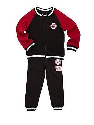 Little Boy's Two-Piece Cotton Jacket and Embroidered Patch Jogger Pants