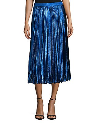 Silk Pleated Midi Skirt