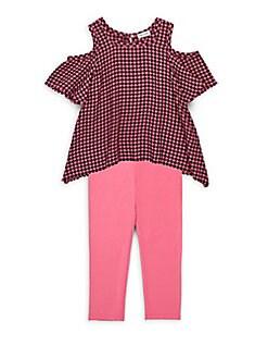 Splendid - Little Girl's Check Cold Shoulder Top & Leggings Set