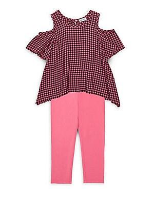 Little Girl's Check Cold Shoulder Top & Leggings Set