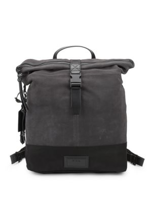 John Varvatos  Suede & Ballistic Nylon Backpack