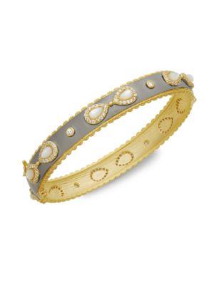 Freida Rothman  Mother-Of-Pearl & Crystal Hinged Bracelet