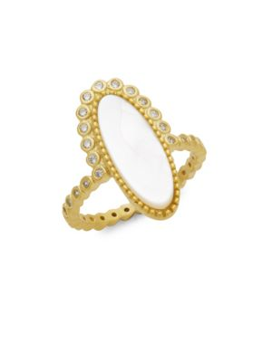 Freida Rothman  Oval Crystal and Mother of Pearl Ring