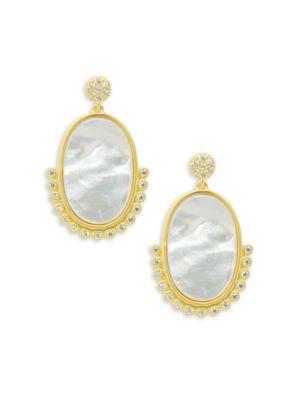 Freida Rothman  Oval Beaded Mother of Pearl Drop Earrings