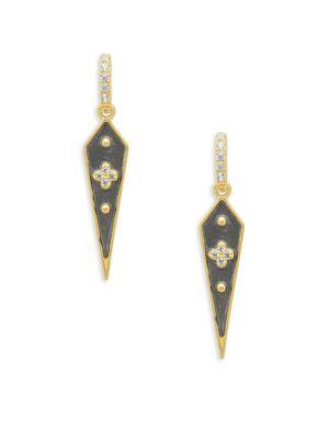 Freida Rothman  Crystal Goldtone Kite Drop Earrings