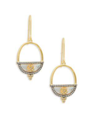 Freida Rothman  Open Oval Crystal Goldtone Drop Earrings