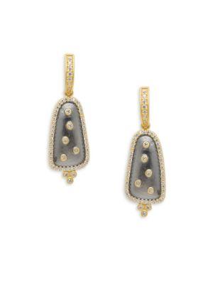Freida Rothman  Scattered Crystal Drop Earrings