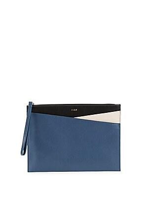 Furla  Papermoon Tri-Tone Zip Leather Wristlet