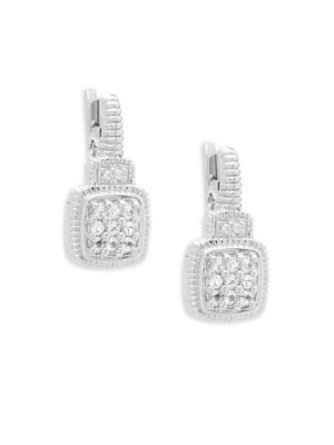 Judith Ripka  White Sapphire Cushion Drop Earrings